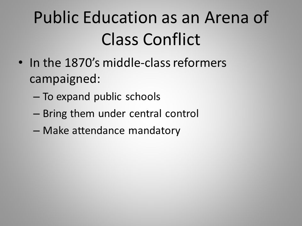 Public Education as an Arena of Class Conflict