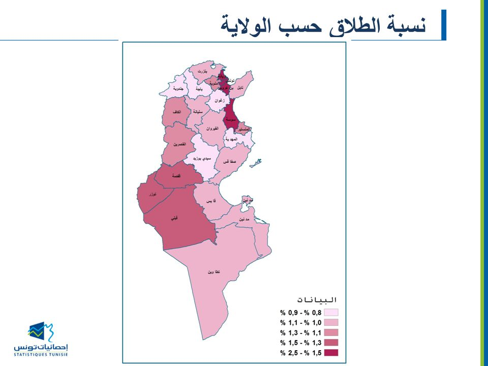 نسبة الطلاق حسب الولاية