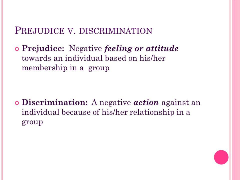 Prejudice v. discrimination