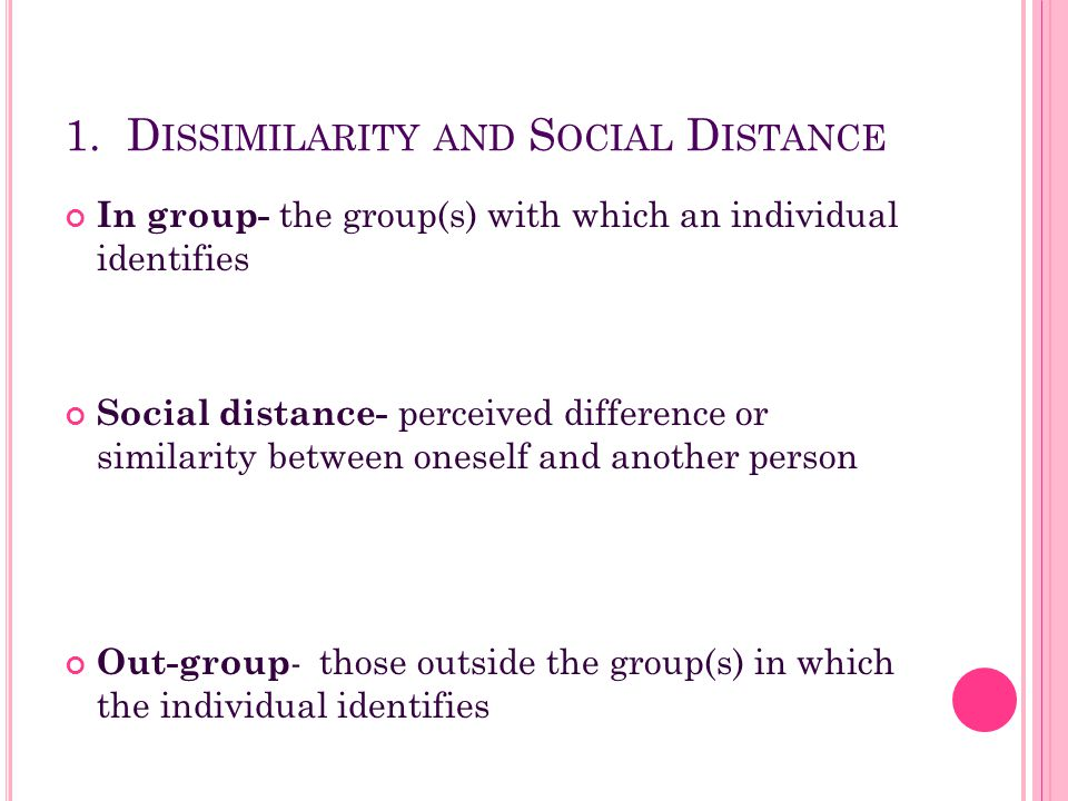 1. Dissimilarity and Social Distance
