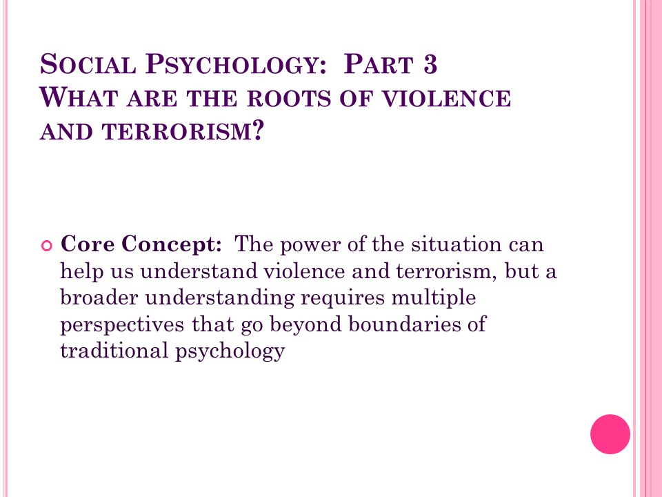 Social Psychology: Part 3 What are the roots of violence and terrorism