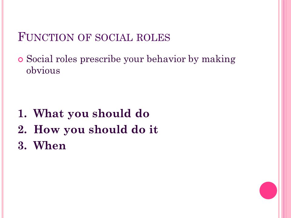 Function of social roles