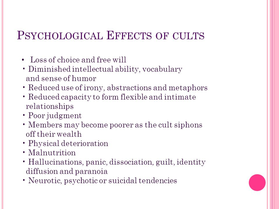 Psychological Effects of cults