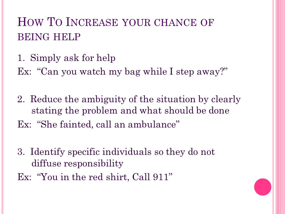 How To Increase your chance of being help