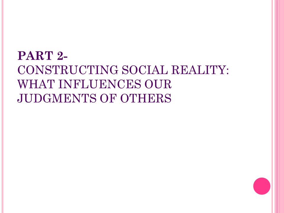 PART 2- CONSTRUCTING SOCIAL REALITY: WHAT INFLUENCES OUR JUDGMENTS OF OTHERS