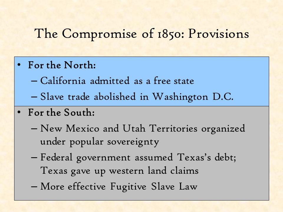 The Compromise of 1850: Provisions
