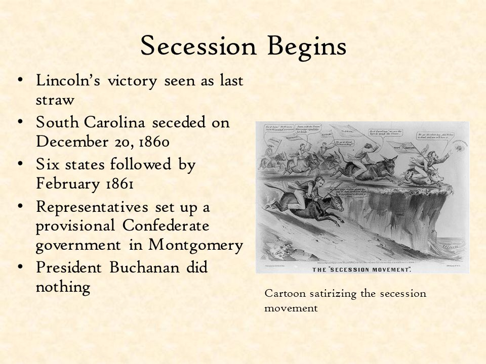 Secession Begins Lincoln's victory seen as last straw