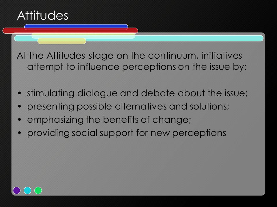 Attitudes At the Attitudes stage on the continuum, initiatives attempt to influence perceptions on the issue by:
