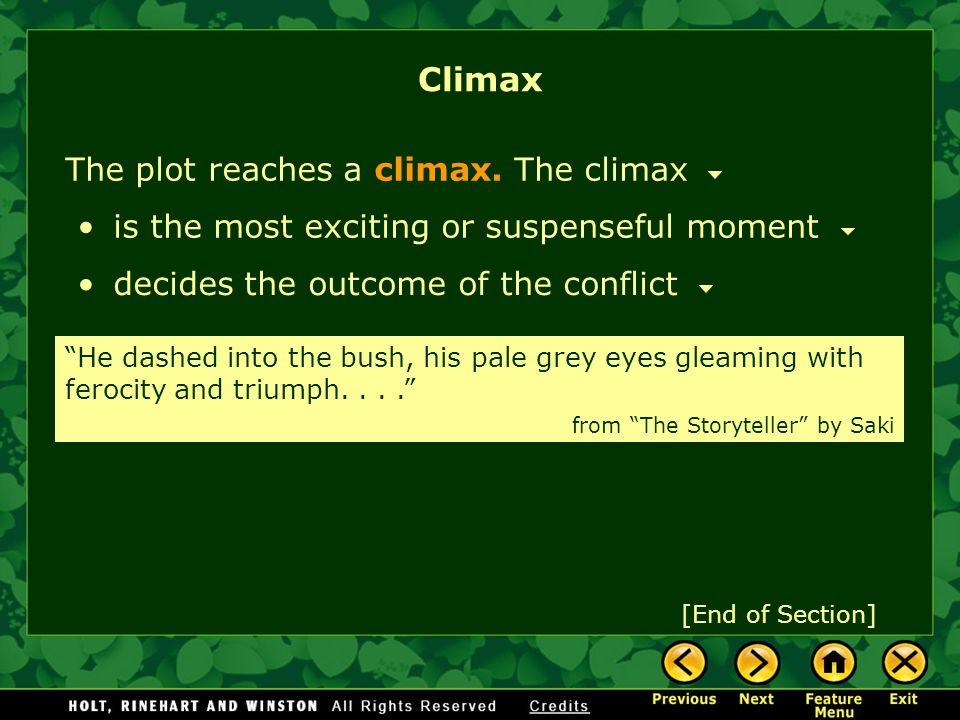 Climax The plot reaches a climax. The climax