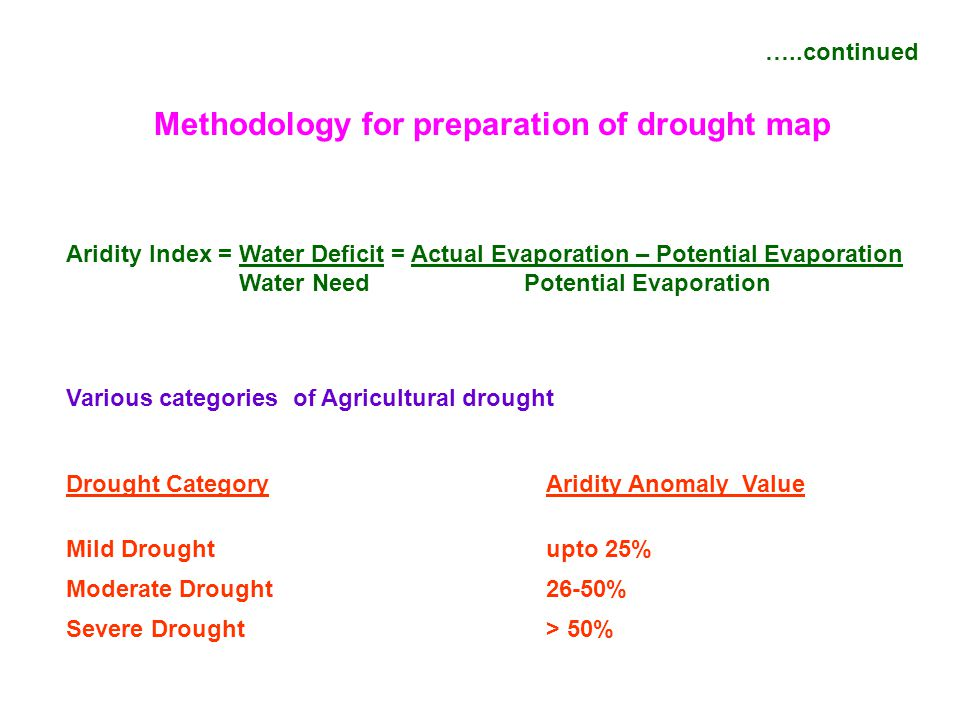 Methodology for preparation of drought map