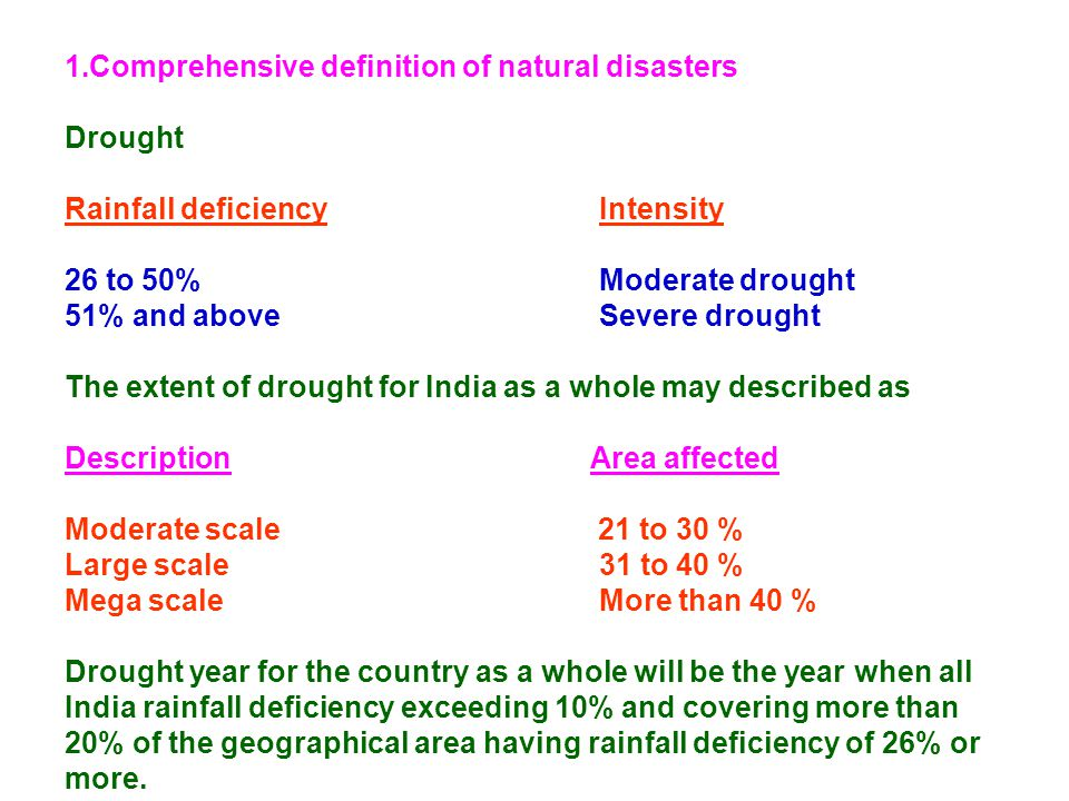 Comprehensive definition of natural disasters