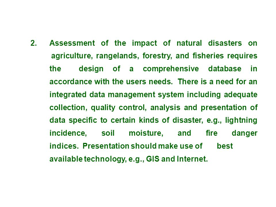2. Assessment of the impact of natural disasters on