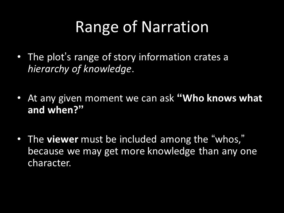Range of Narration The plot's range of story information crates a hierarchy of knowledge. At any given moment we can ask Who knows what and when