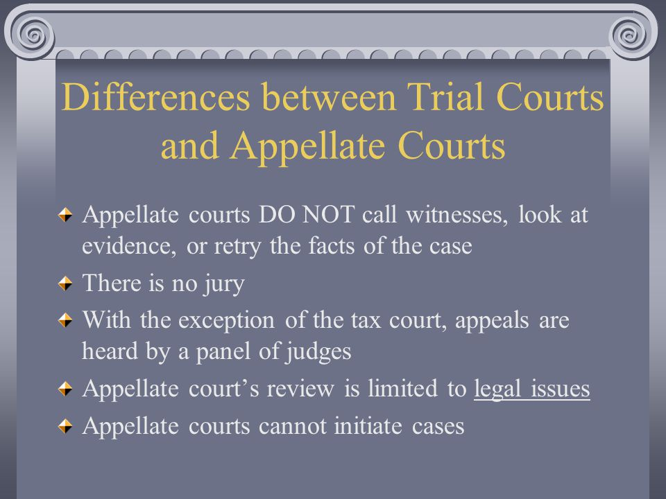 Differences between Trial Courts and Appellate Courts