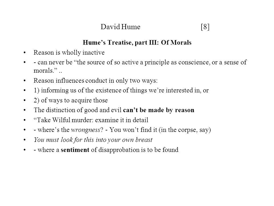Hume's Treatise, part III: Of Morals