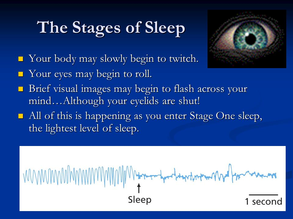 The Stages of Sleep Your body may slowly begin to twitch.