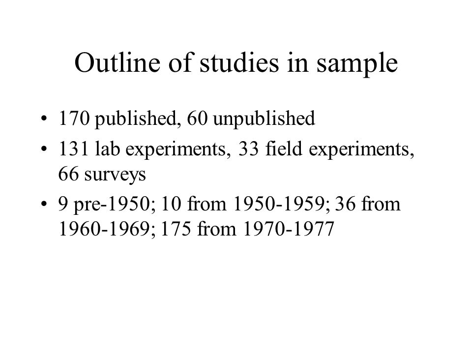 Outline of studies in sample