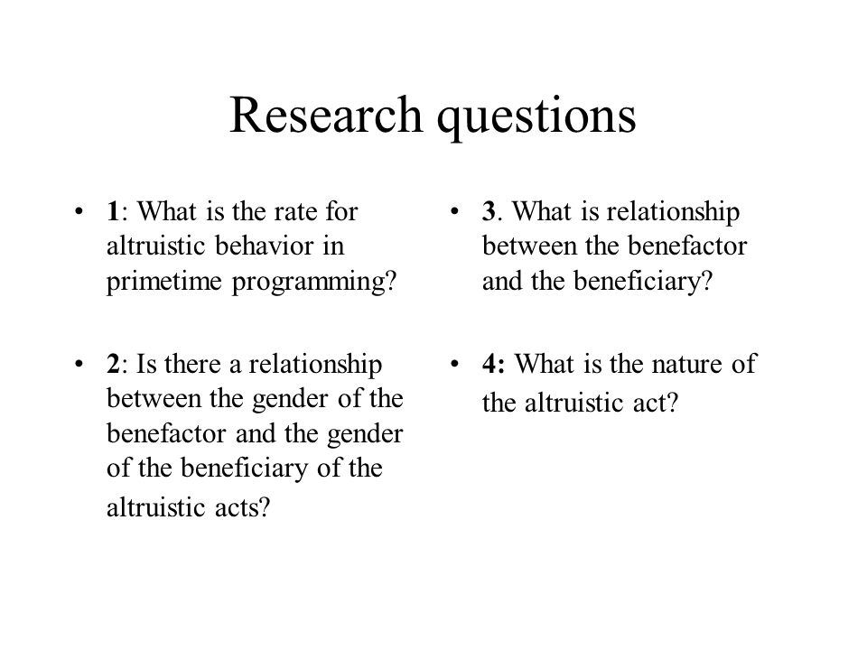 Research questions 1: What is the rate for altruistic behavior in primetime programming