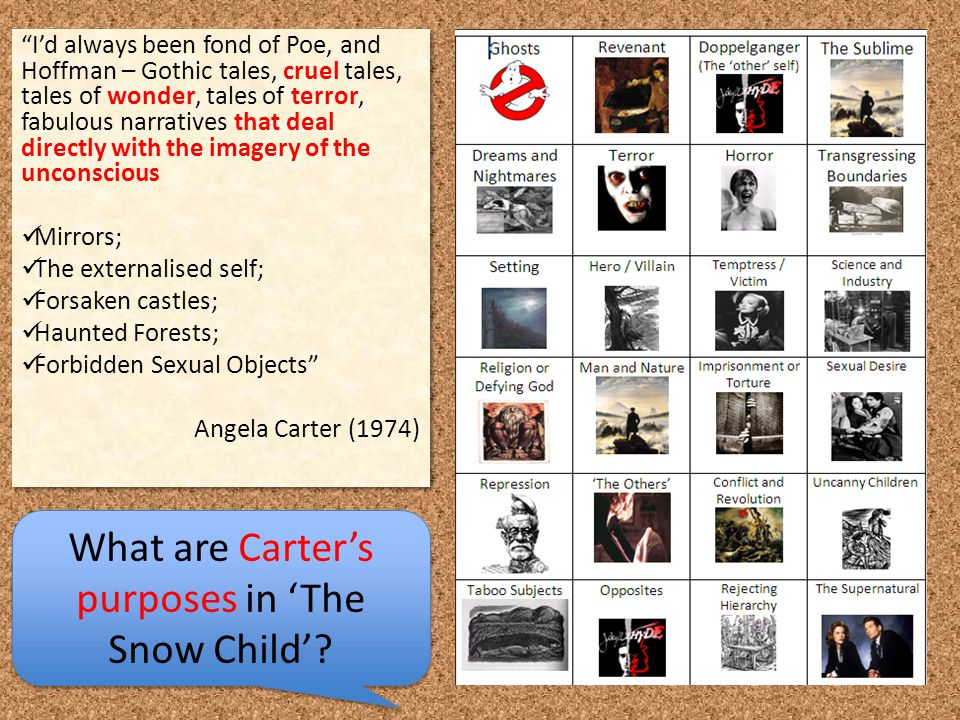 What are Carter's purposes in 'The Snow Child'