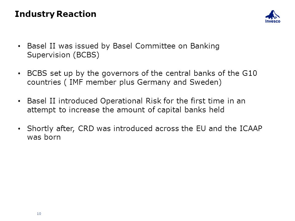 Industry Reaction Basel II was issued by Basel Committee on Banking Supervision (BCBS)