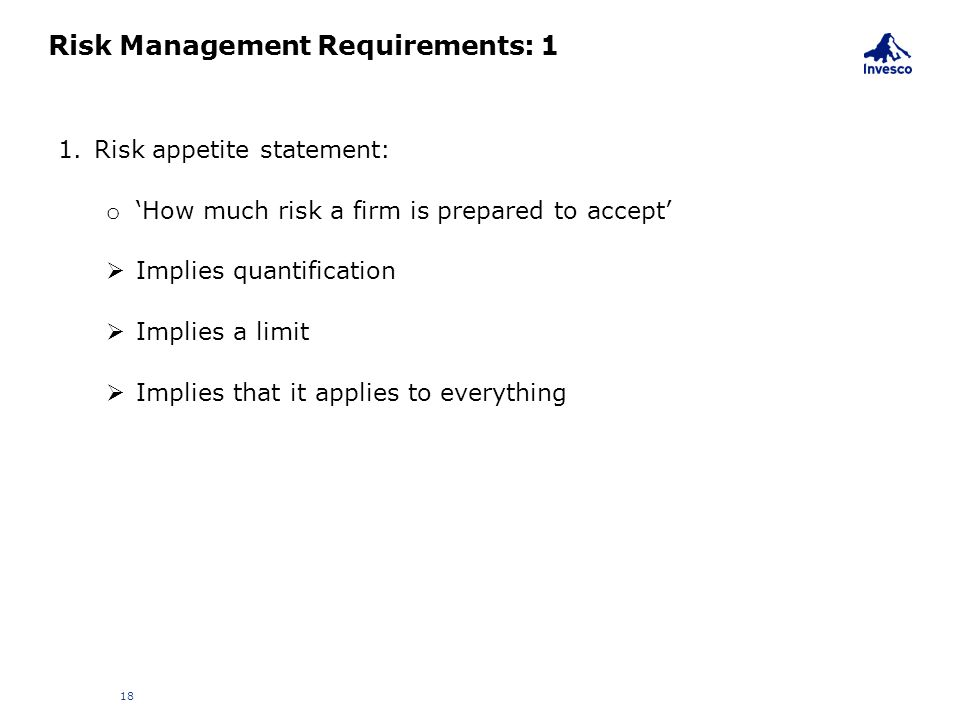 Risk Management Requirements: 1