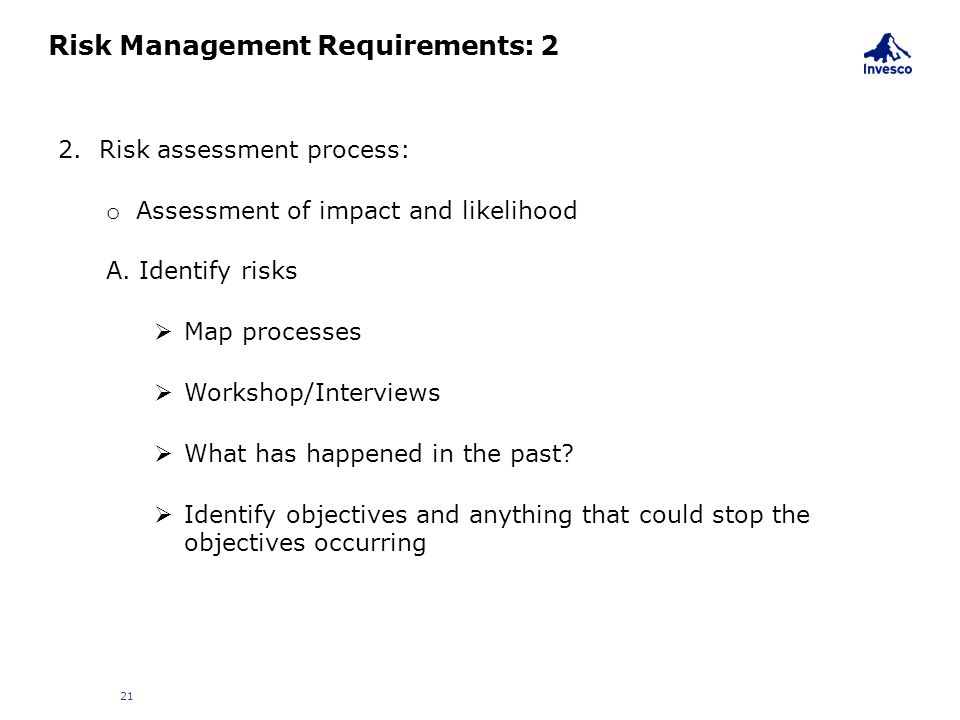 Risk Management Requirements: 2