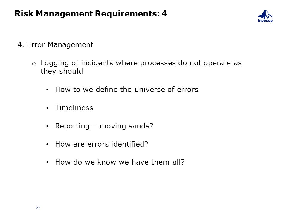 Risk Management Requirements: 4