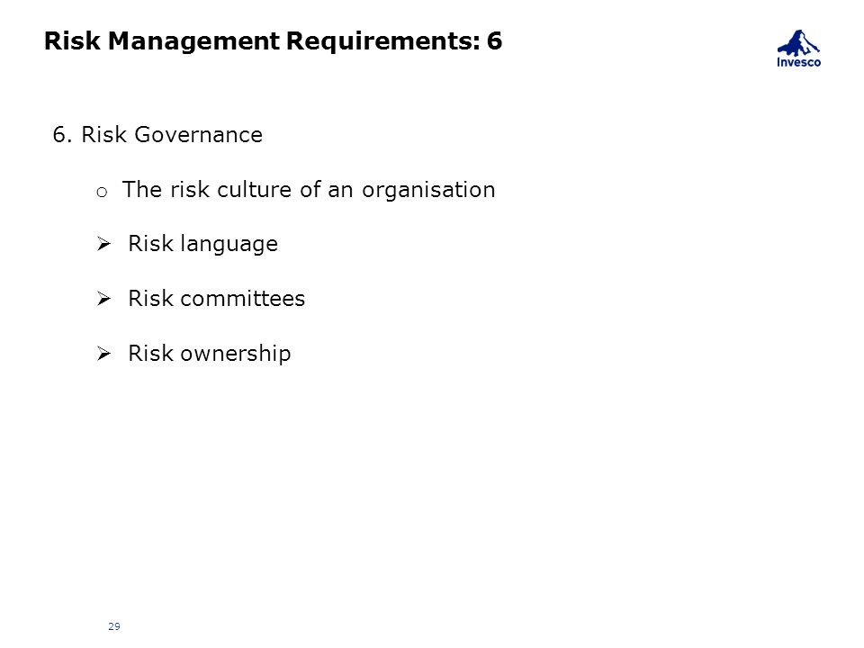 Risk Management Requirements: 6
