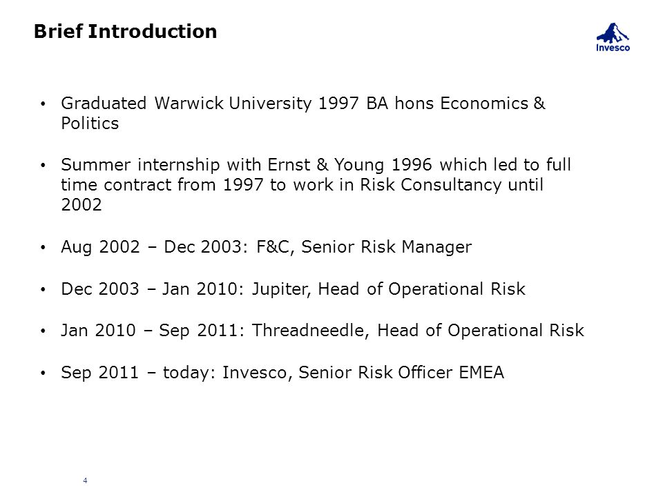 Brief Introduction Graduated Warwick University 1997 BA hons Economics & Politics.
