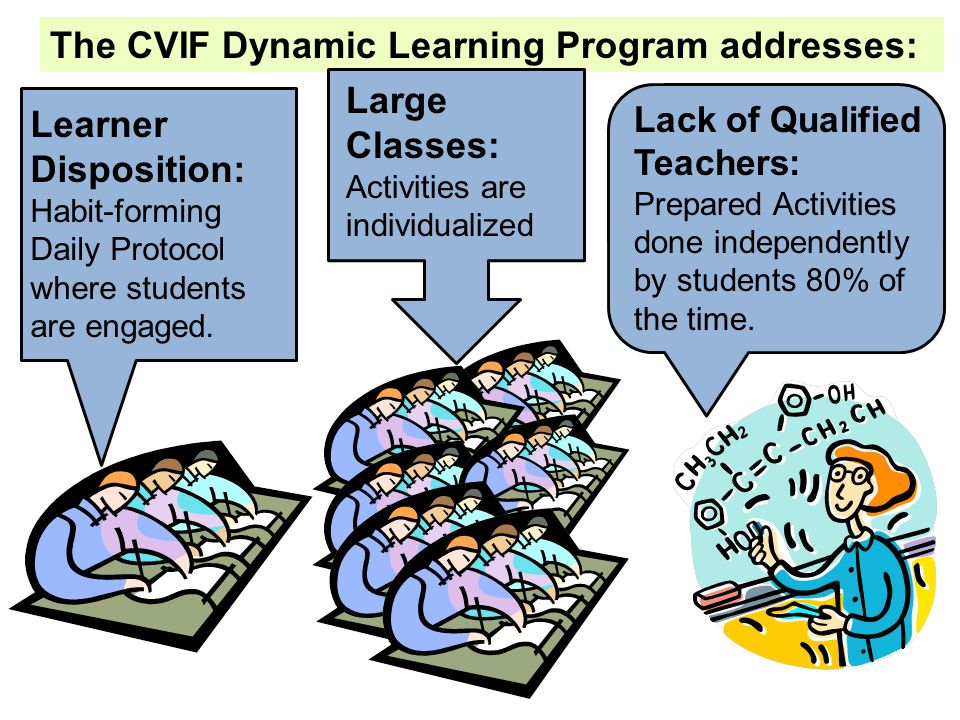 The CVIF Dynamic Learning Program addresses: Large Classes: