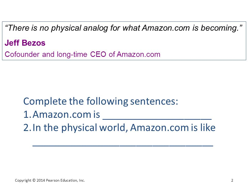 Complete the following sentences: Amazon.com is ____________________