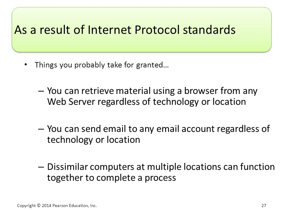 As a result of Internet Protocol standards