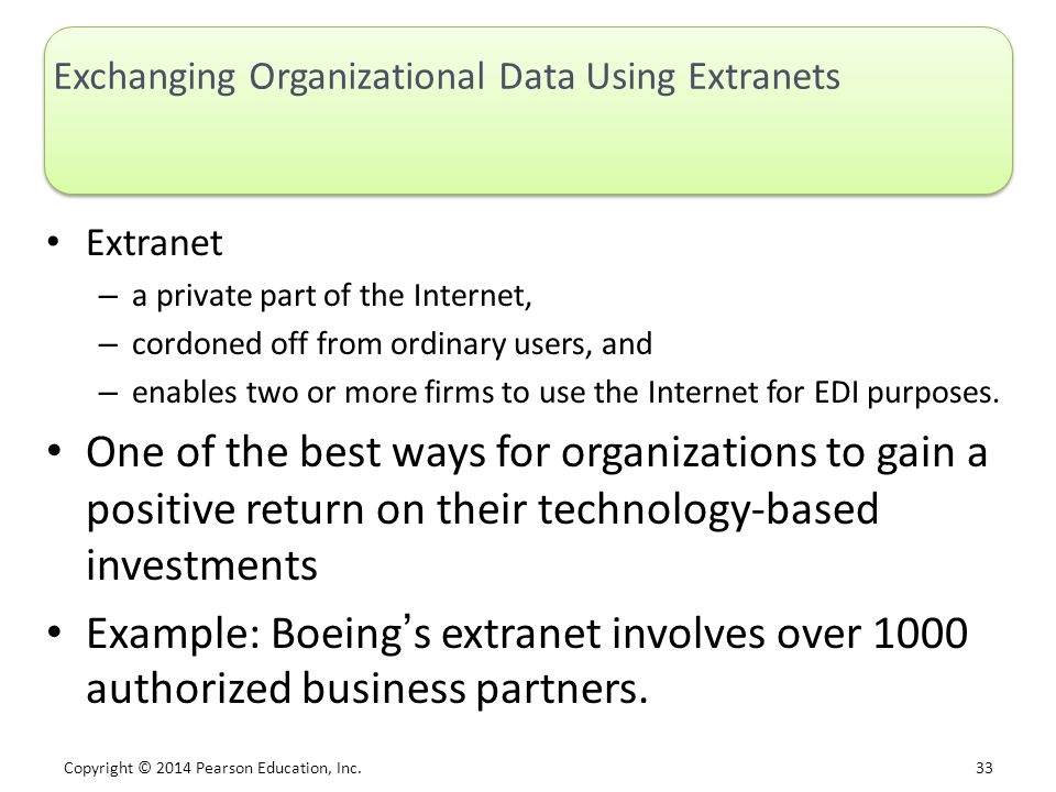 Exchanging Organizational Data Using Extranets