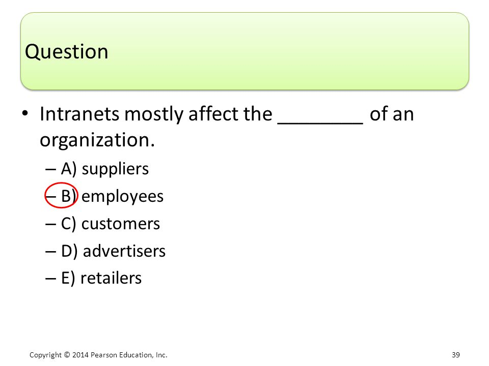 Question Intranets mostly affect the ________ of an organization.