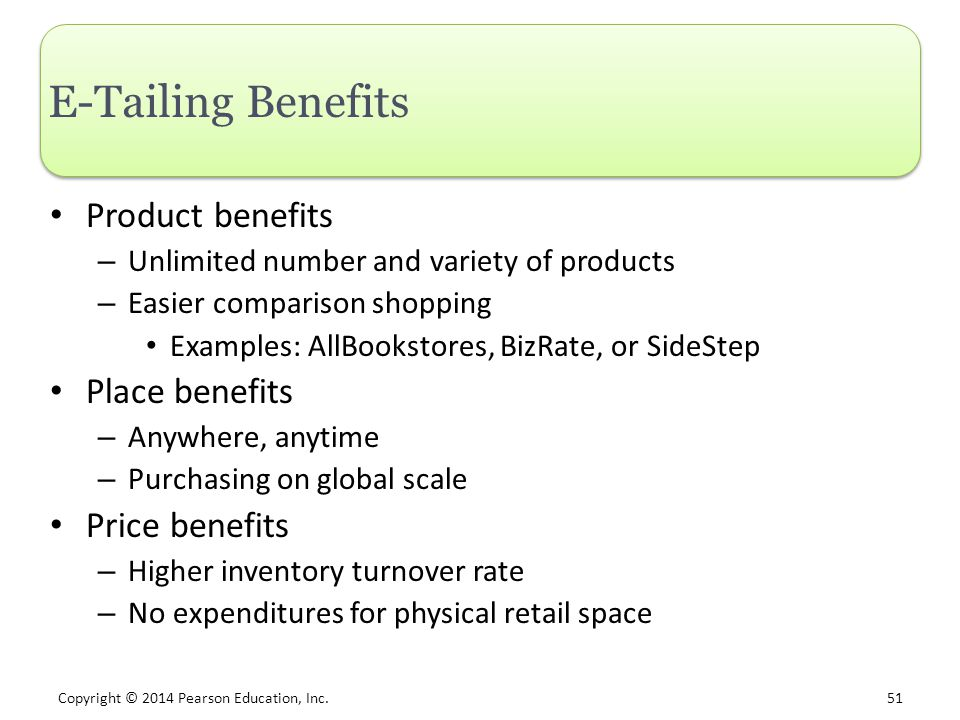 E-Tailing Benefits Product benefits Place benefits Price benefits
