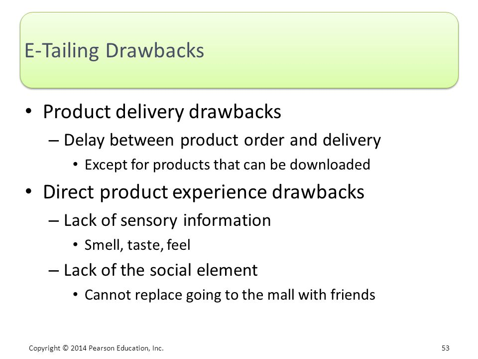 E-Tailing Drawbacks Product delivery drawbacks