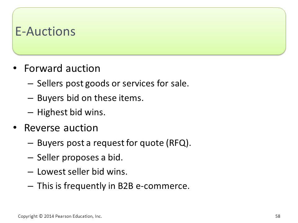 E-Auctions Forward auction Reverse auction