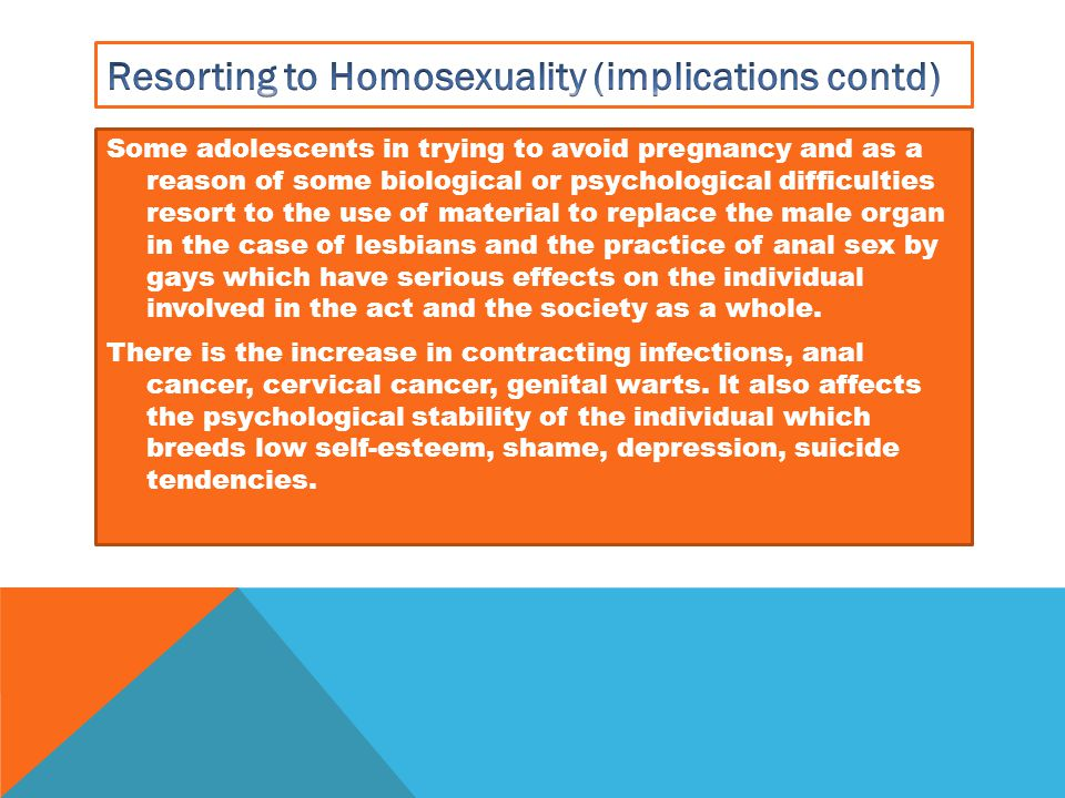 Resorting to Homosexuality (implications contd)