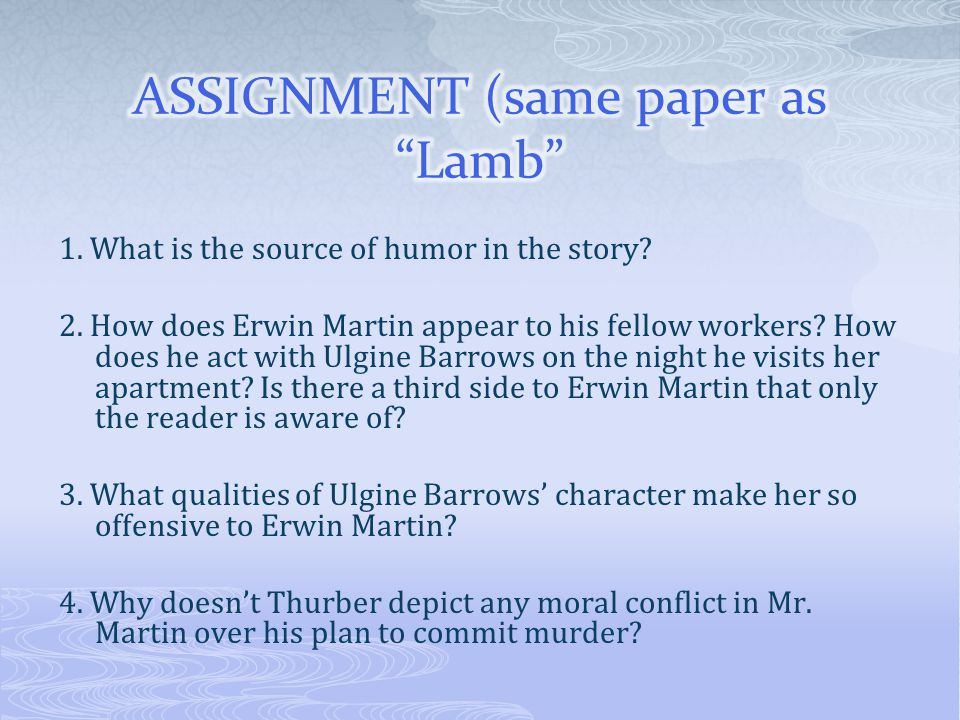 ASSIGNMENT (same paper as Lamb