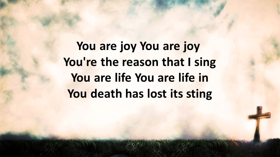 You are joy You are joy You re the reason that I sing You are life You are life in You death has lost its sting.