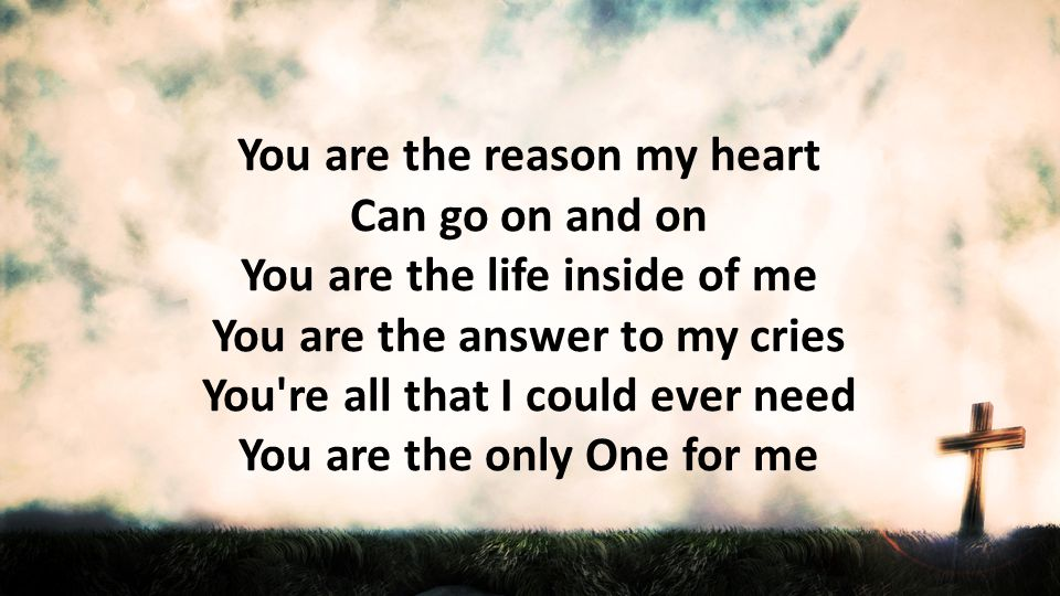 You are the reason my heart Can go on and on You are the life inside of me You are the answer to my cries You re all that I could ever need You are the only One for me