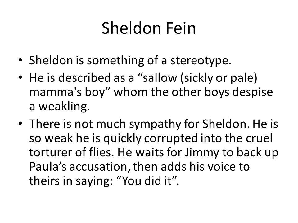 Sheldon Fein Sheldon is something of a stereotype.