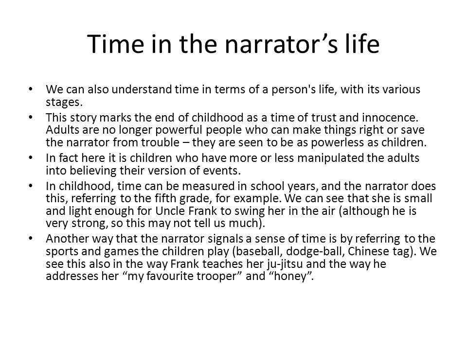 Time in the narrator's life