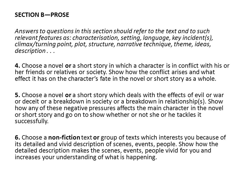 SECTION B—PROSE
