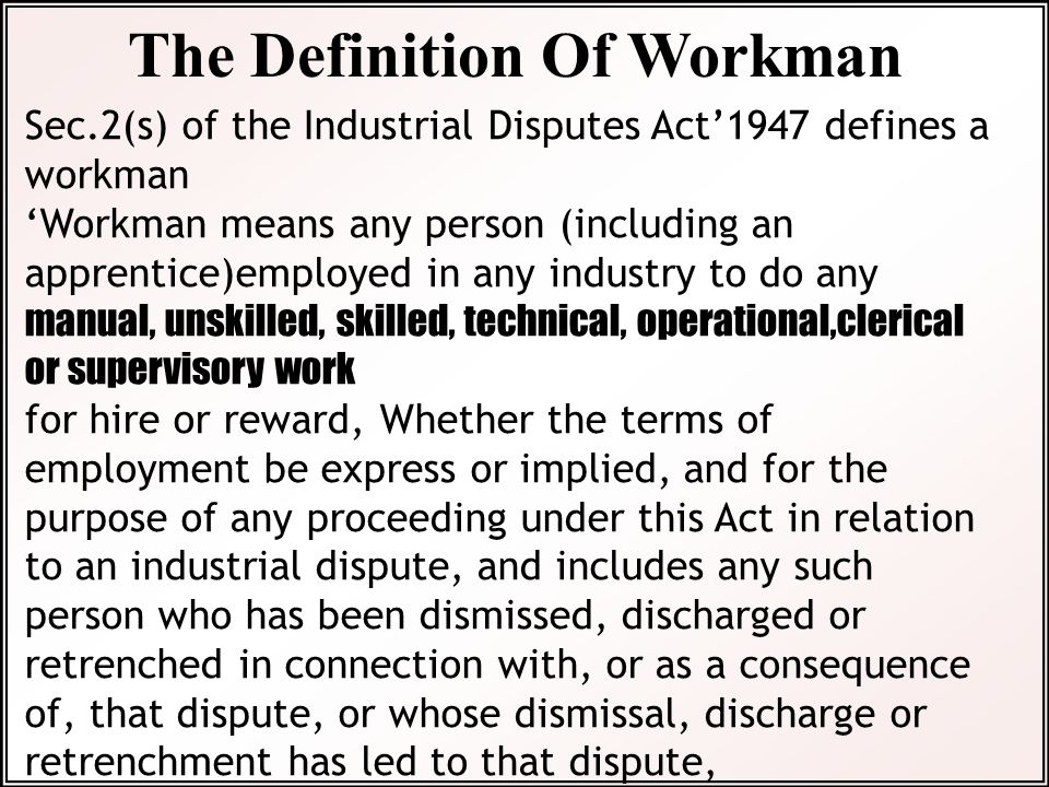 The Definition Of Workman