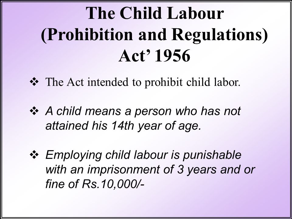 (Prohibition and Regulations)