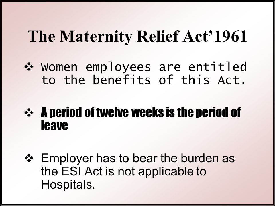 The Maternity Relief Act'1961