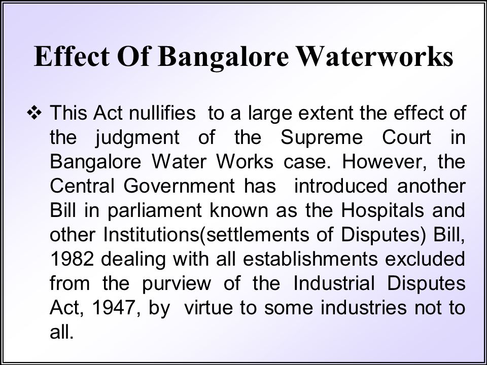 Effect Of Bangalore Waterworks
