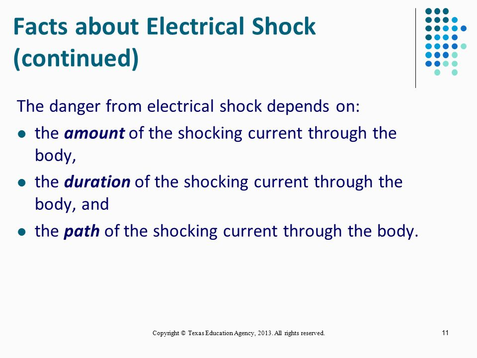 Facts about Electrical Shock (continued)