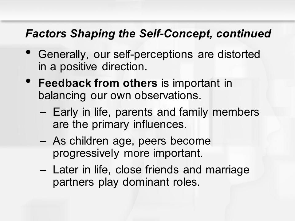 Factors Shaping the Self-Concept, continued